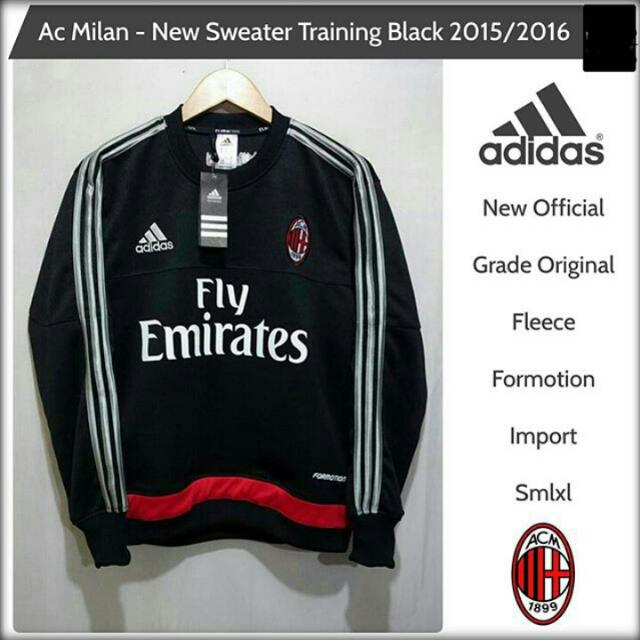 new styles 7a1a0 c06f4 SWEATER TRAINING OFFICIAL AC MILAN BLACK 2015 - 2016, Sports ...