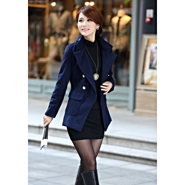 Winter Coat, Winter Jacket, Outer Wear. Navy Blue