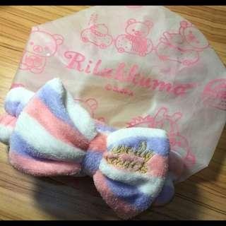 (組合優惠)手繪風拉拉熊浴帽+粉嫩色髮圈