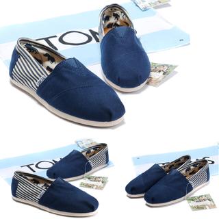 〝保留〞(經典款)TOMS-正版-男生學院風懶人鞋:藍色-尺碼UE42