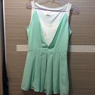 正韓 粉綠色 背心裙