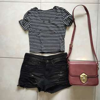 (保留)黑色高腰褲+黑白條紋短版上衣
