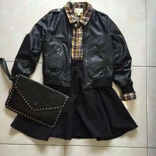 皮衣+襯衫+裙子