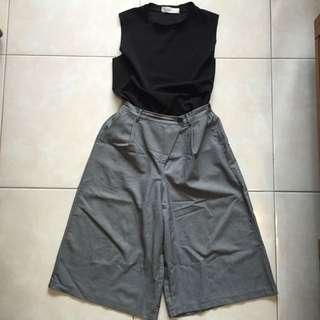 上衣+灰色寬褲