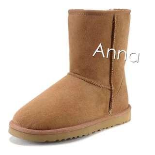 【Anna】牛皮羊毛~真皮5825 中筒 雪靴(栗子色)《2雙免運》UGG太陽花底