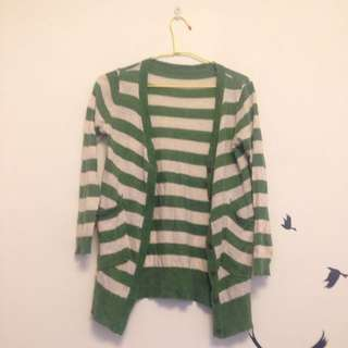 綠色橫條針織外套