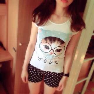 可愛貓咪T恤 $80