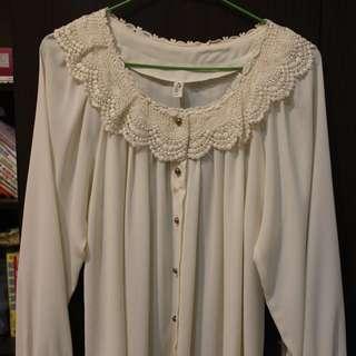 全新韓貨-米白色雪紡上衣