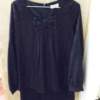 黑色蝴蝶結典雅長袖上衣