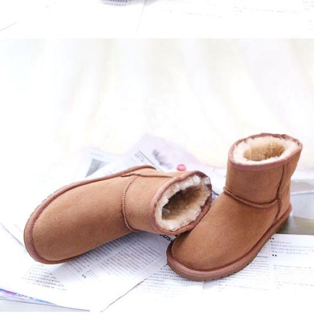 【Anna】牛皮羊毛~真皮5854 底筒 雪地靴(栗子色)雪靴UGG太陽花底