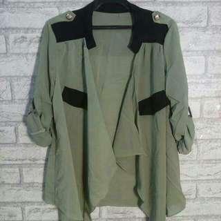 綠色雪紡襯衫(附綁帶)