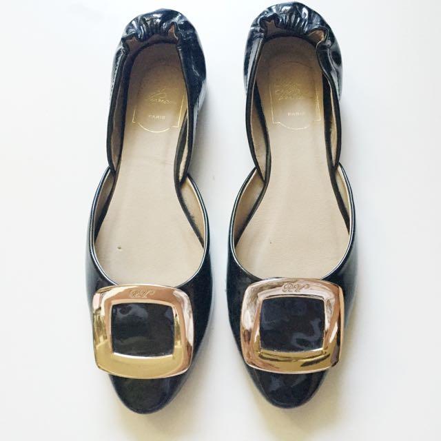 歐美風方型配飾平底鞋39號