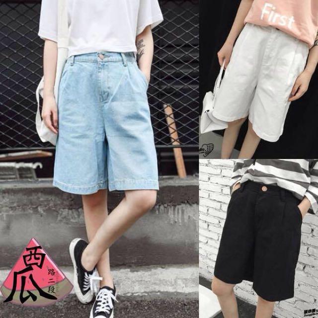 ::韓版高腰寬鬆男友牛仔褲