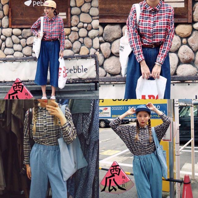 ::韓版學院風格子襯衫