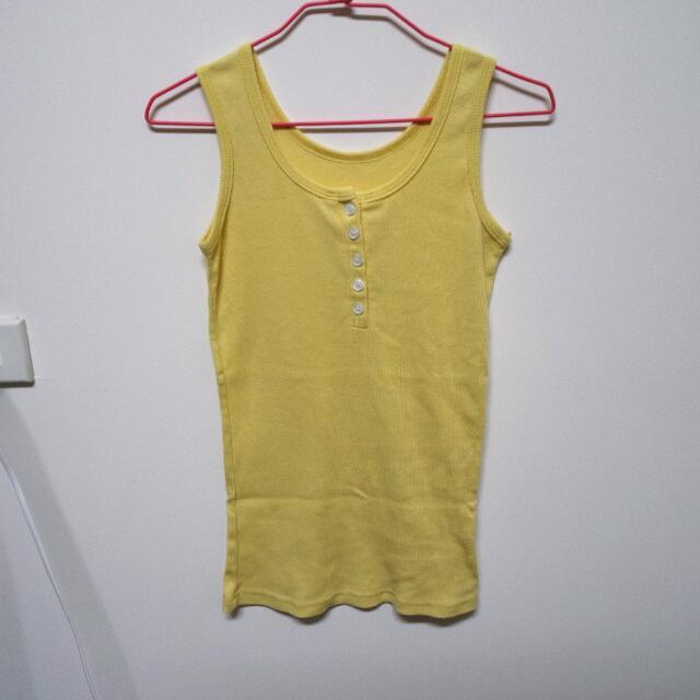 全新黃色排扣背心
