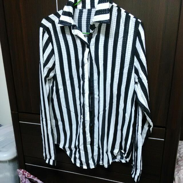 黑白條紋薄涼長袖