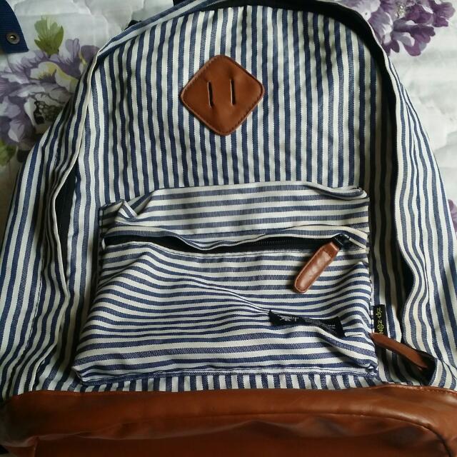 海軍風藍白條紋後背包
