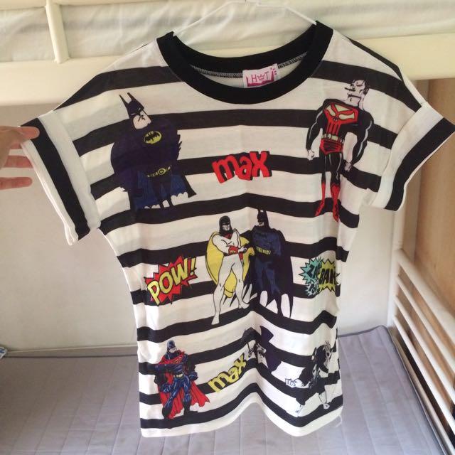 超人圖案條紋長版衣服