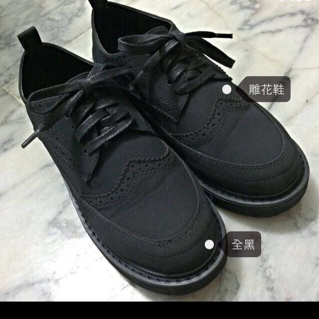 全黑花雕鞋