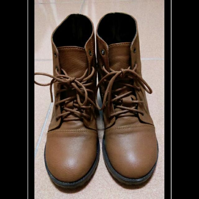 粗根短靴(棕色)