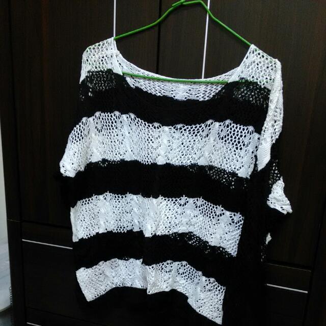 黑白條紋 洞洞針織衣