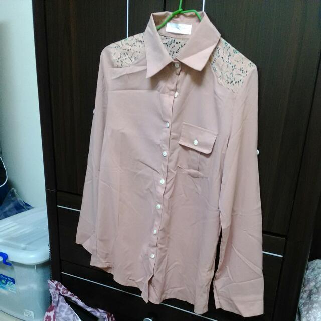 粉橘  提花 薄襯衫