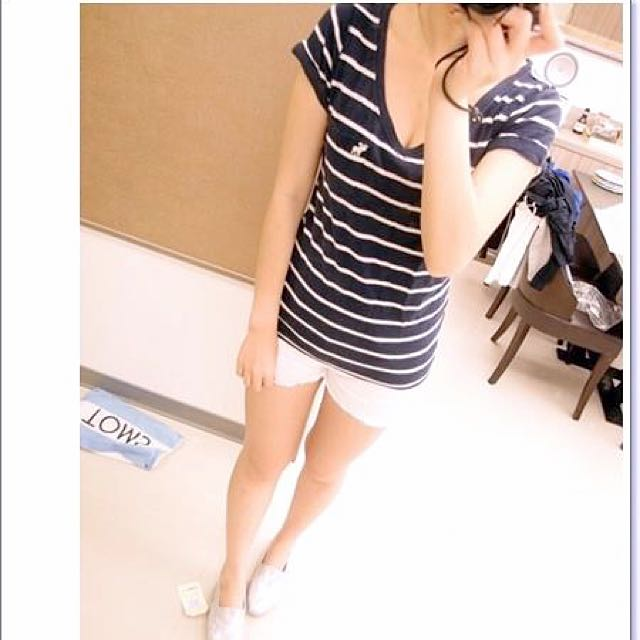 Abercrombie & Fitch 藍白條紋短袖Tee