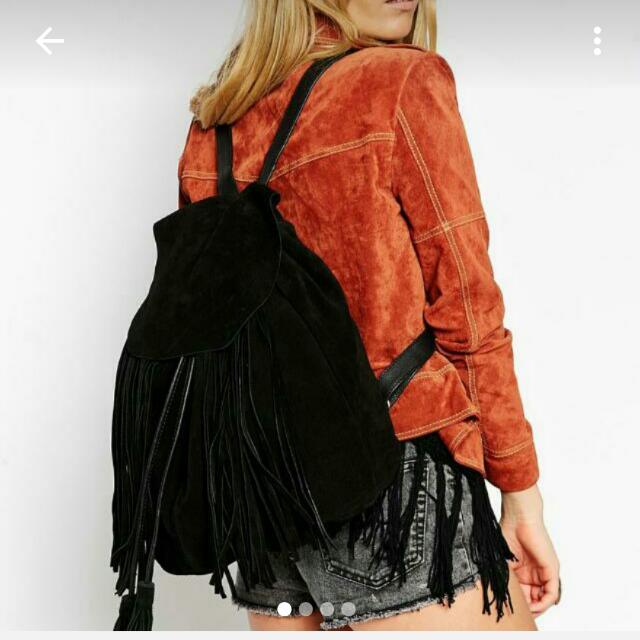 ASOS Boho Fringe Bucket Backpack