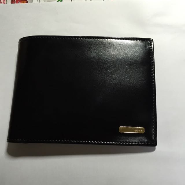 Gucci Black Leather Wallet With Gold Metal Logo