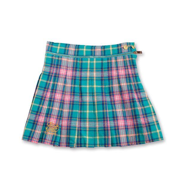 Major 英倫風百摺格紋拉鍊裙褲