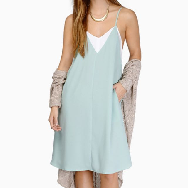Sweet Mint And White Summer Dress