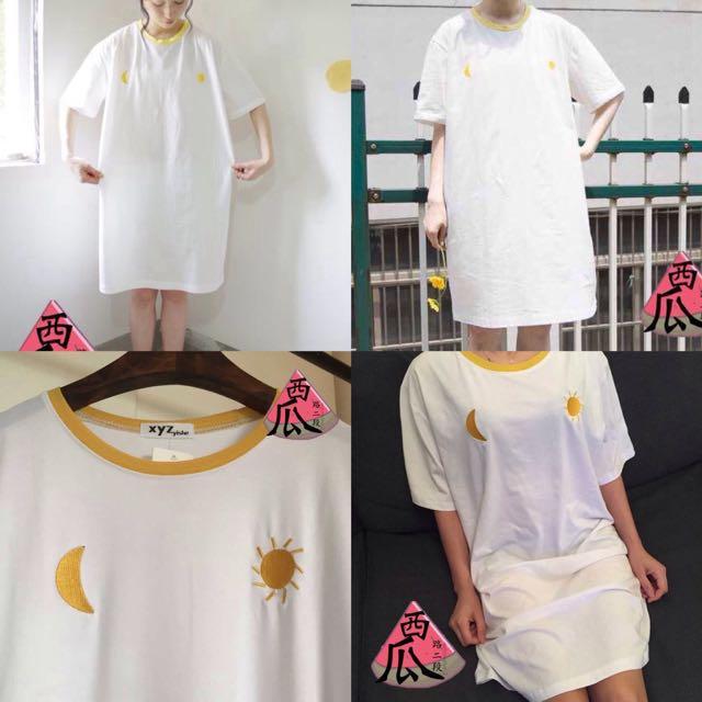::拼接月亮太陽刺繡T恤