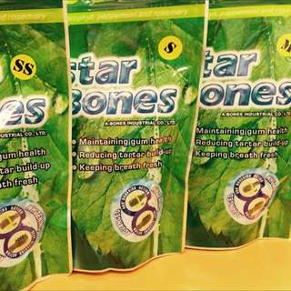 A-Star Bones A-Bones 多效雙刷頭潔牙骨 袋裝 葉綠素 亮白 系列 $180
