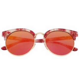 原價$950 琥珀大理石紅 水銀反光鏡面 眉框圓墨鏡