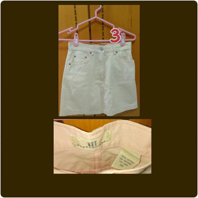 淡粉紅牛仔短裙