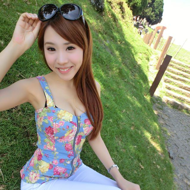 夏日花漾前拉鍊式上衣