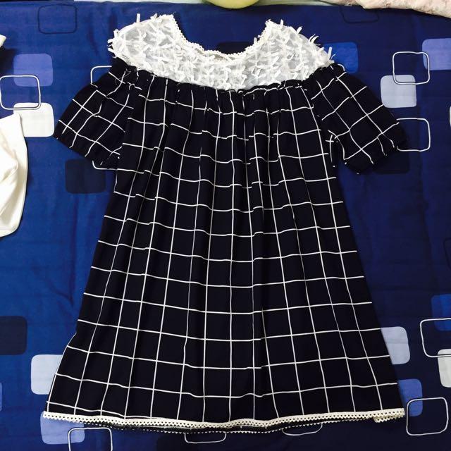 透膚蝴蝶結🎀設計感格紋長版上衣