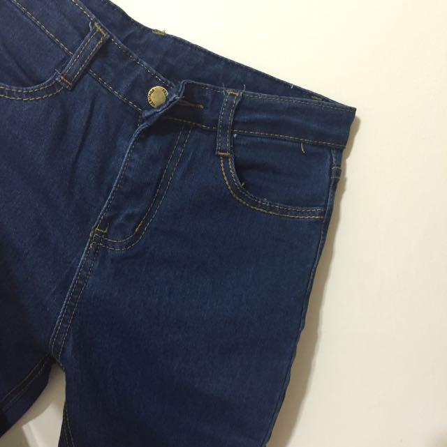 全新❗️深藍高腰破洞牛仔褲