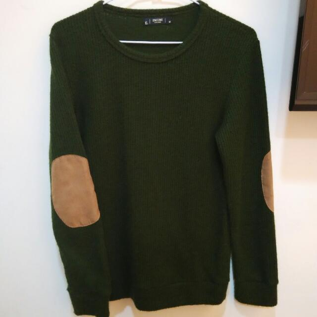 拼接墨綠色針織毛衣