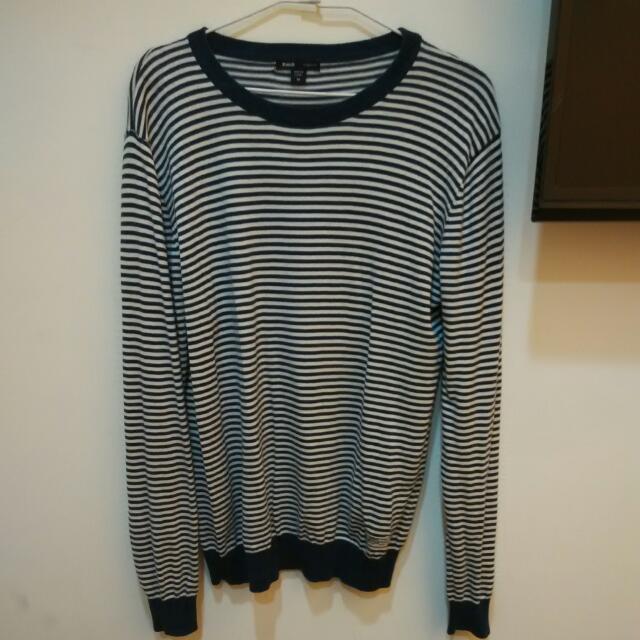 藍白條紋針織毛衣