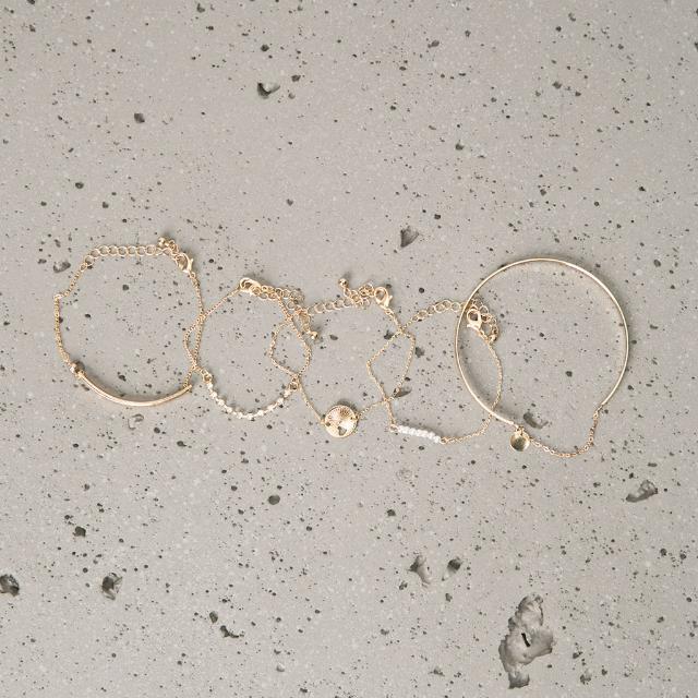 Bershka ZARA姊妹品牌 珍珠鑽光金色細手鍊 5入一組