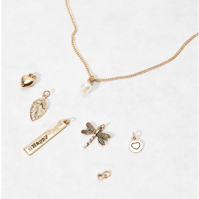 Bershka ZARA姊妹品牌 墜飾可變換金色項鍊 7款一組