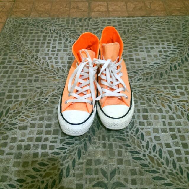 Converse . All Star 蠟筆橘帆布鞋
