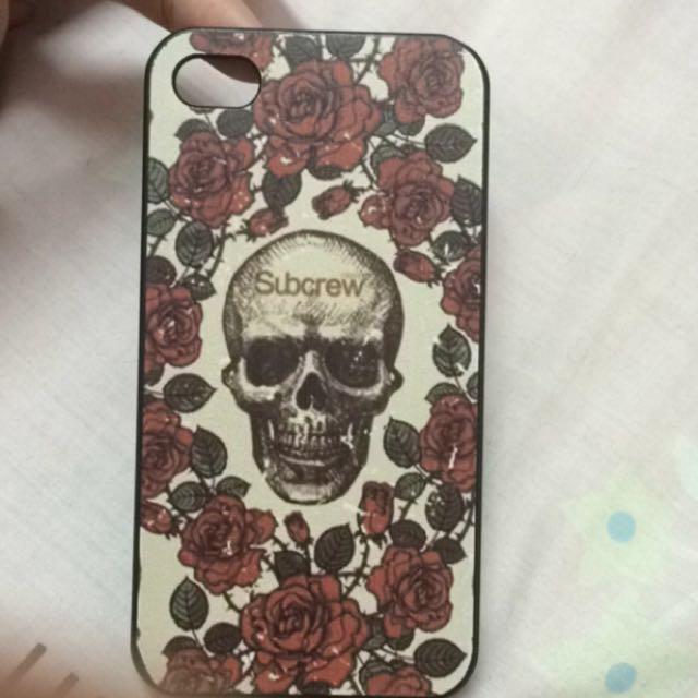 iphone4/4s 玫瑰花骷髏頭手機殼