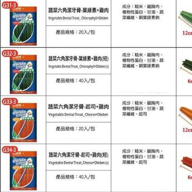 K.C.DOG 六角蔬菜潔牙骨 系列 $180 送5支軟Q潔牙骨