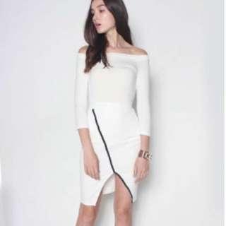 BN Side Slit White Skirt