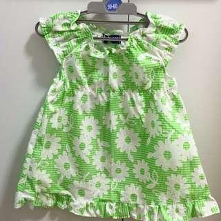 日本連線帶回 ✨日本製✨綠花洋裝80碼