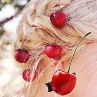 原宿 ZIPPER 森林系 甜美 可愛 夏日 水果 仿真 紅櫻桃 髮夾 蘿莉塔 Vivi lolita 手作  現貨