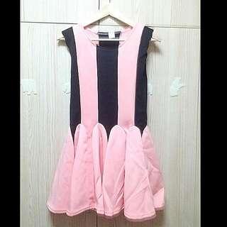 Sweet Pink Black Stripes Dress [BN]