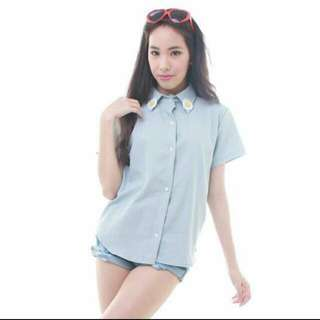 Daisy Collar Denim Blouse